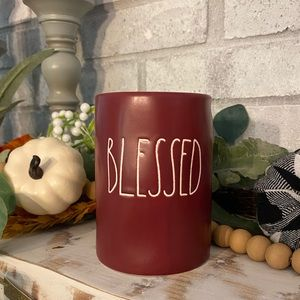 Rae Dunn 'BLESSED' magenta candle